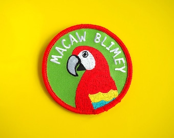 Parrot Patch, Macaw Blimey Patch, Funny Patch, Iron On Patch, Pun Patch, Bird Patch, Jacket Patch, Fun Parrot Embroidered Patch,Animal Patch