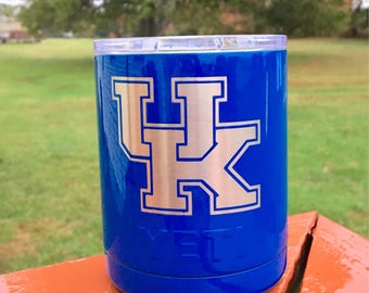 Embedded University of Kentucky Yeti 10oz/20oz/30oz Powder Coated Tumbler with NEW Spill Proof Lid-Royal Blue with embedded UK
