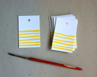 Yellow striped gift tags - small - handpainted yellow honey beekeeper - set of 15