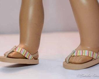 18 inch doll FLIPFLOPS SANDALS SHOES in Multicolor Stripes with Elastic Heel Strap for doll like American Girl