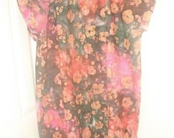 Rainbow floral batik hospital gown