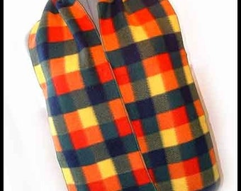 Mountaineer Colorful Plaid Fleece Scarf, Blanket Plaid Neck Scarf, Multicolored Plaid Muffler, Unisex