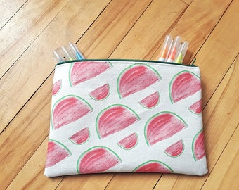 TO order, treasure chest pencil, travel, makeup case, storage pouch handmade, Pocket melon illustration