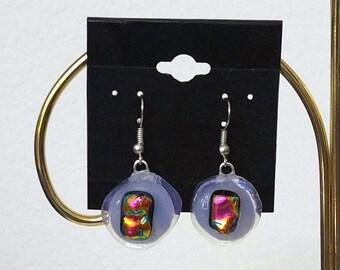 Purple Dichroic Earrings-Purple Fused Glass Earrings-Fused Glass Jewelry-Dichroic Glass Jewelry-Purple Glass Earrings