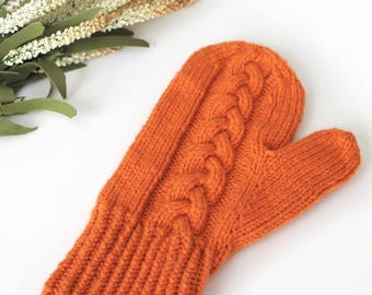 Pumpkin Orange Autumn Braid Cable Knit Mittens