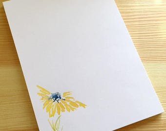 Daisy Floral Notepad Stationery - Watercolor Flower Notepad - Handmade Yellow Daisy Notepad - Yellow Daisy Stationery - 40 Sheet Notepad