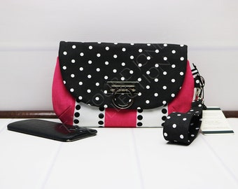 Smartphone Wristlet - Iphone Clutch Purse - Cellphone Wallet - Flap Clutch - Zipper Wristlet - Wrist Strap Purse - Padded Phone Purse