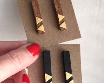 Wood hex post earrings