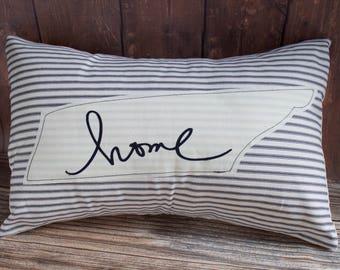 Tennessee Pillow. Tennessee Home Script Pillow. Nashville Pillow. Home Pillow. Dorm Pillow. Throw Pillows. Black Stripe pillow. Rustic decor