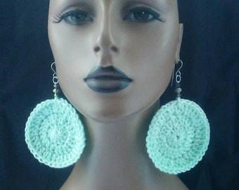 Crocheted Earrings, Womens Crocheted Earrings, Pastel Light Green Crochet Earrings, Crochet Jewelry, Womens Earrings
