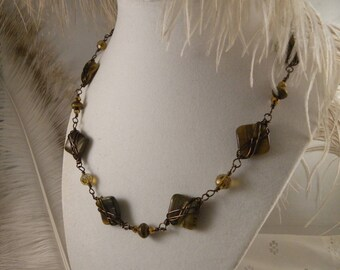 Tiger Eye and Bronze Wire Link Choker with Earrings
