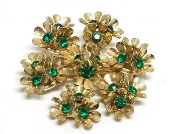 30% Off Sale Coro Vintage Floral Pin Green Rhinestones Gold Tone