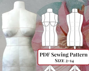 Instant Download! PDF Sewing Pattern DIY Dress Form Mannequin and Sewing Instructions. Sizes 2,4,6,8,10,12,14(Bra Cups A,B,C,D,DD/E)