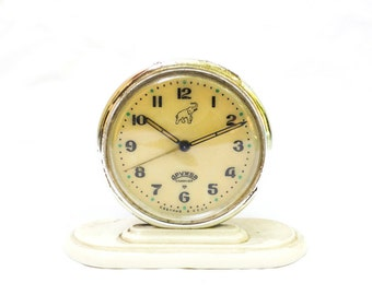 Vintage Clock, Gold Soviet Clock, Mechanical Alarm Clock, Drujba Russian Mechanical Alarm Clock , USSR Watch, Russian Vintage, Soviet Union