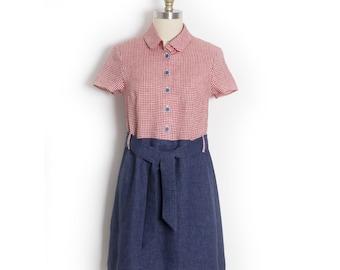 Gingham 50s dress - A line linen shirt dress - 1950s shirtwaist dress - Chemisier with sash belt - Vintage style dress - Linen shirt dress