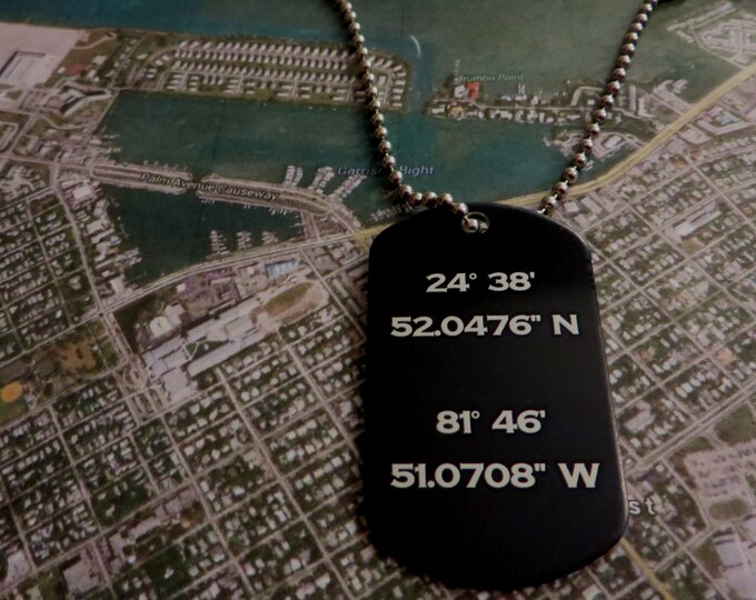 Latitude Longitude Black Anodized Aluminum Dog Tag  Dad Mom Boyfriend Girlfriend Husband