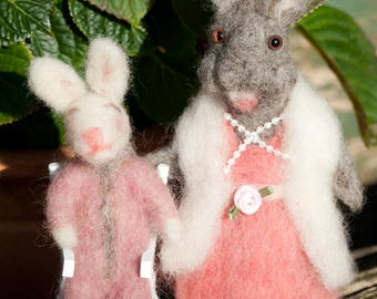 Rabbit and Baby - Needle Felted, One Of A Kind