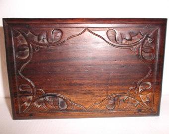 Vintage 1960s Bohemian Jewellery Box Hand Carved Wood Boho Trinket Box