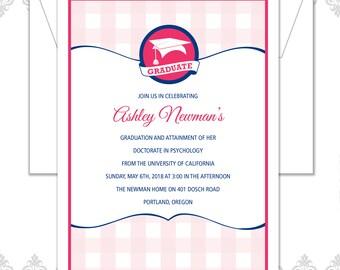Plaid Graduation Announcement Invitation, Buffalo check Grad Invite, Graduation Party Invite, Plaid invite, Gingham Pattern Invite, Grad Hat