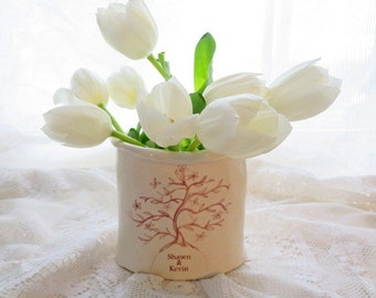 Holiday Gift, Personalized Gift, Vase, Couples Gift, Wedding Gift, Anniversary Gift, Tree of Life, Porcelain, Home, Custom