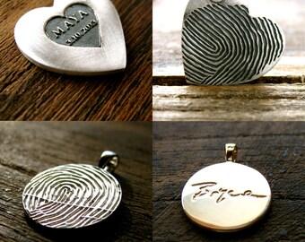 Order Your Handmade Custom Designed Finger Print Pendant or Necklace - Deposit Only