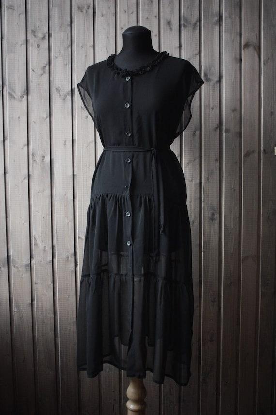 Chiffon Bohemian Dress, Boho Dress, Summer Dress, Black Chiffon Dress, Witchy Dress, Dark Boho Dress by Etsy