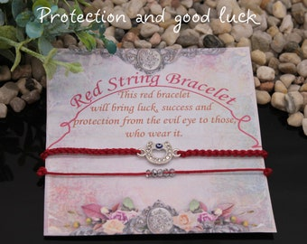 red string evil eye bracelet set 2 red protection good luck adjustable simple minimalist cord thread elegant lucky string macrame horseshoe