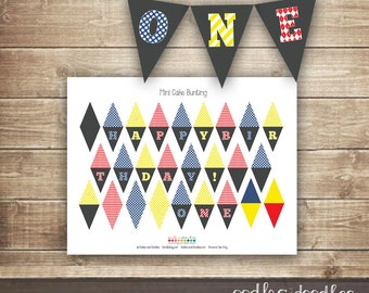 First Birthday Cake Bunting, First Birthday Cake Decorations, Boys, ONE mini cake bunting, Primary Colors, INSTANT DOWNLOAD - Printable