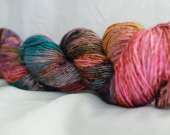 OOAK  Speckled hand dyed super wash merino single sock (100 grams) 417 yds