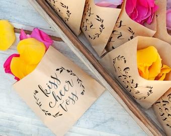 Wedding Petal Toss Bag - Kraft Paper Favor Bags - Kiss Cheer Toss - Fill with your own Rose and Flower Petals - 20 Kraft Bags