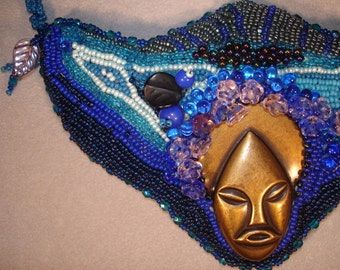 Frankies Bride Wore Blue  Beadembroidered and Beadwoven Neckpiece-marked down 25.00 for the Spooky Season