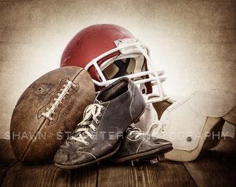 Vintage Football Gear Red Helmet Photo print , Decorating Ideas, Wall Decor, Wall Art,  Kids Room, Rustic Decor, Vintage Sports, Man Cave,