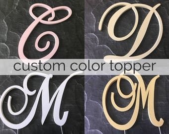 "Painted Wedding Cake Topper - White Blush Pink Gold Silver Monogram Initial - 6"" Tall 
