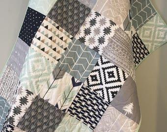 Tribal Baby Quilt, Baby Boy Bedding, Aztec Mudcloth Baby Quilt, Neutral Baby Quilt, Aztec Nursery, Tribal Crib Bedding, Navy Gray Beige Mint