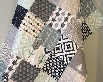 Tribal Baby Quilt, Baby Boy Bedding, Aztec Mudcloth Baby Quilt, Neutral  Baby Quilt