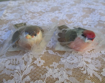 Craft Decoration Bird Set of 2 Sparrows  New Old Stock in Packages Crafts Decoration, Floral Display