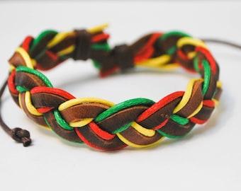 Bob Marley braided hemp cord with Brown Leather Bracelet
