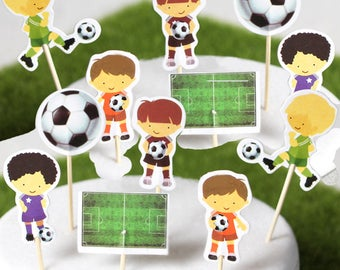 Soccer Cupcake Toppers - Set of 12, 24, or 36 (4 Designs) Sports Party DIY Cupcake Toppers