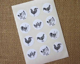 Chicken Stickers One Inch Round Seals