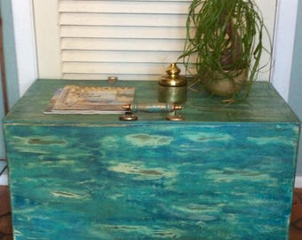 Vintage Green/Blue Trunk Coffee Table
