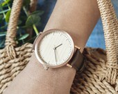 Personalized Watch, Gifts For Her, Cherry Wood Rose Gold Watch, Women's Wood Watch - HELM-CR