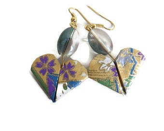 Origami heart earrings Gold Green and purple