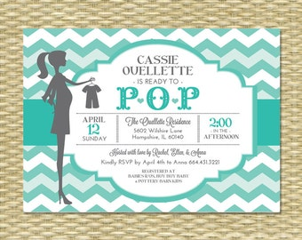 Gender Neutral Ready to Pop Baby Shower Invitation Teal Aqua Mint Chevron Baby Brunch Baby Sprinkle Sip and See, ANY COLOR, Any Event