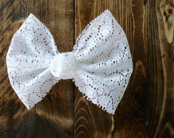 White Lace Classic Bow/ Lace Bow/ White Bow/ Lily Lou Shop