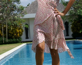 SALE! Wrap belted short dress/Wrap frill short Dress/Bohemian wrap dress/Summer wrap frill dress * LOUISE Short DRESS
