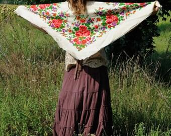 Vintage Shawl USSR Shawl Floral Scarf Russian Shawl Russian Scarf Head Scarf White shawl Ukrainian Shawl Ukrainian Scarf Vintage Clothes