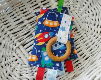 ON SALE Baby Carrier Strap Covers with Teething Rings - Drool Pads - Suck Pads - Outer Space, Rocket Ships, Stars, Blue, Red, Yellow