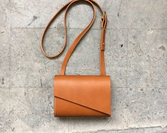 Tan Leather Crossbody Shoulder Bag - Pioneer Mini