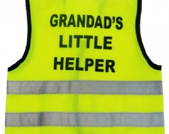 """Baby  Yellow Vests Printed """"GRANDAD'S LITTLE HELPER"""" Reflective Waistcoat Hi Visibility  Safety"""