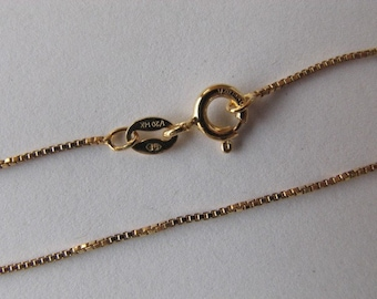 14Kt Gold filled Box Chain Necklace 26 inch, 1mm with Spring Clasp, Highest Quality